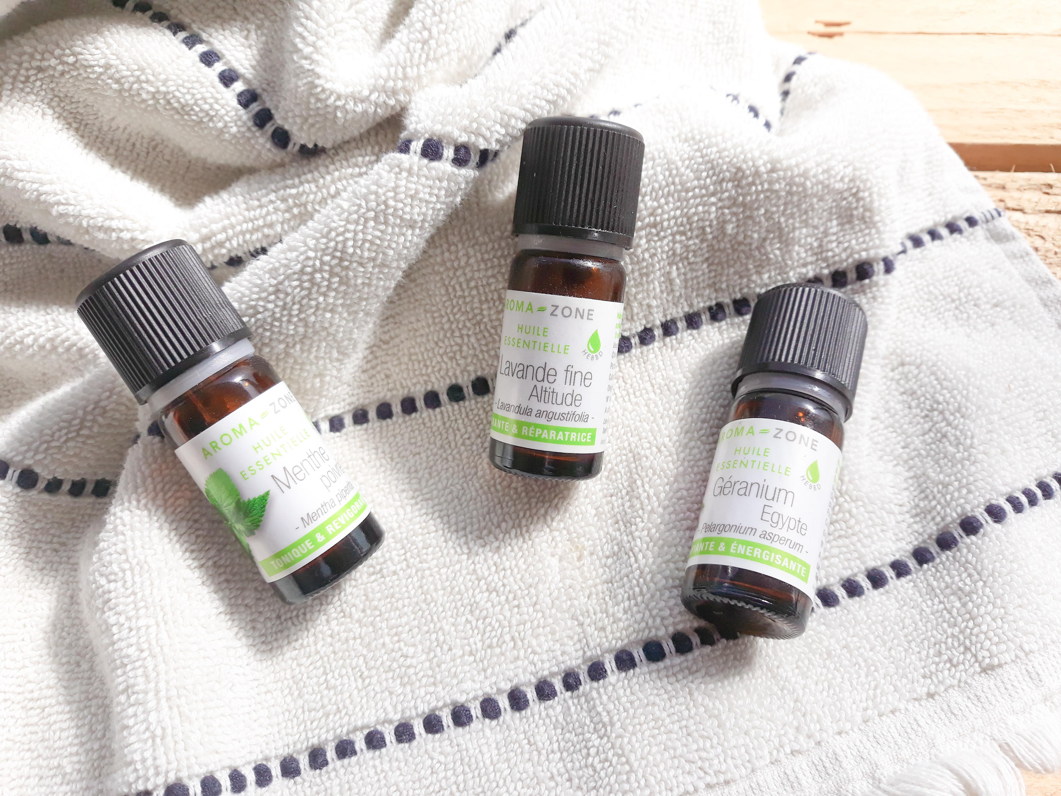 Huiles essentielles de l'été : lavande fine, menthe poivrée et géranium